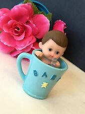 1PC Baby Shower Boy Blue Cake Topper Decorations Figurines Party Favors Giveaway