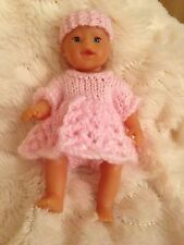 Dolls Clothes Knitted For 5 Inch Doll Sculptured, Oakley Outfit Only Pink Dress