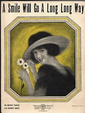 A SMILE WILL GO A LONG LONG WAY Sheet Music  1923   Frederick S. Manning