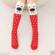 New Lovely Kids Girls Toddlers Cute Pattern Knee High Cotton Socks for 3-7 child