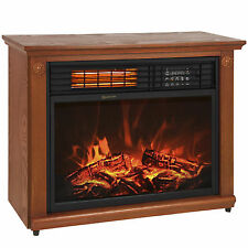 Large Room Infrared Quartz Electric Fireplace Heater Honey Oak Finish w/ Re