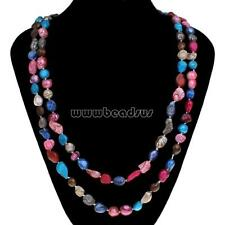 Fashion Women Natural Baroque Multi-colored Freshwater Pearl Long Necklace Chain