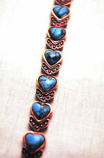 LADIES 7.25 IN. MAGNETIC THERAPY BRACELET; Copper and Turquoise Hearts 4 Pain!