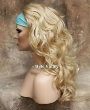 Blonde Mix 3/4 Wig Fall Hairpiece Long Wavy Layered Half Wig Hairpiece