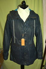 NWT HUGO BOSS mens zip/snap dark blue weather proof hooded parka coat 52 42 R