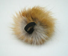 new real red fox fur large pom-pom/ponytail holder/hair band - 4 inches diameter
