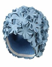 Vintage Retro Style Bathing Cap Swimming Cap Ladies Aqua Blue Flowers Flowery
