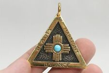 925 Sterling Silver Gold Tone Santa Fe CEO 1995 Golden Triangle Pendant 23.2g