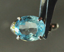NATURAL! SKY BLUE TOPAZ OVAL STERLING 925 SILVER RING WHITE GOLD PLATED SIZE 5