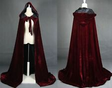 New Red wine Hooded Bridal Wedding Cloak Winter Capes Velvet Long Shawl **