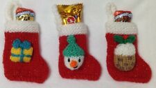 KNITTING PATTERN - Snowman, Present, Pudding Christmas stocking tree decoration