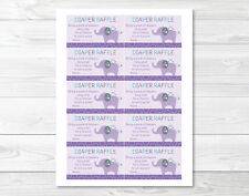 Mod Elephant Owl Forest Friends Printable Baby Shower Diaper Raffle Tickets