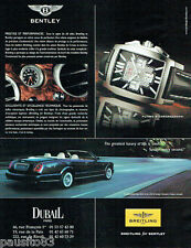 PUBLICITE ADVERTISING 115  2007  BREITLING  montre BENTLEY  flying B chronograph