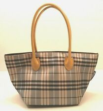 Auth BURBERRY LONDON BLUE LABEL Check Canvas Leather Navy Blue Tote Bag PURSE