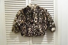 POLO NORTE: Fur LEOPARD Rabbit SOFT Coat FLUFFY Bolero JACKET Cape for a Girl