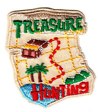 """""""TREASURE HUNTING"""" w/Chest - Iron On Embroidered Applique/Children, Games,Fun"""