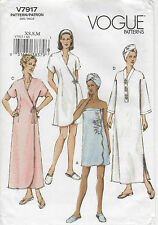 Vogue Designer Sewing Pattern Misses' Robe~Shower Wrap~Head Wrap~Slippers