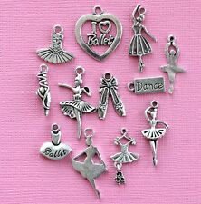 Ballet Charm Collection 12 Tibetan Silver Tone Charms FREE Shipping E28