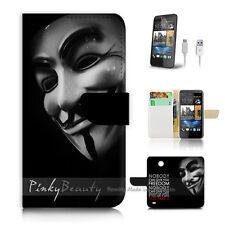 HTC Desire 310 Print Flip Wallet Case Cover! V for vendetta mask P0227