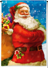"JOLLY SANTA CLAUS BAG OF TOYS CHRISTMAS HOLIDAY SMALL BANNER FLAG 12.5""x18"""