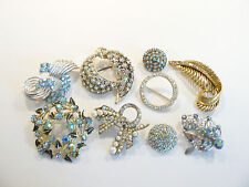 Beautiful Lot of Vintage AB Rhinestone Brooches / Pins Bridal Bouquet A-3