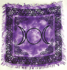 Small Purple Tie Dyed Triple Moon Altar Cloth Wicca