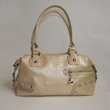 Kathy Van Zeeland Croc Embossed Gold Tan Beige Metallic Studded Shoulder Handbag