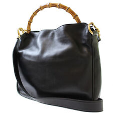 GUCCI Bamboo Shoulder Hand Bag Black Leather Italy Vintage Authentic #7102 M