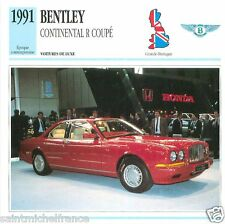 BENTLEY CONTINENTAL R COUPE 1991 CAR GREAT BRITAIN GRANDE BRETAGNE CARD FICHE