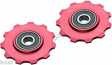 Acor CNC Alloy 11T Jockey Pulley Wheels 9 - 10 speed MTB Road Bike Bicycle Red