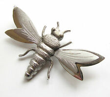 Vintage Matte & Shiny Silver Tone Bee Wasp Death Head Moth Insect Brooch Pin