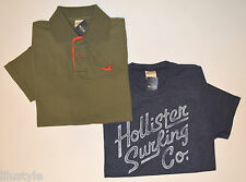NWT HOLLISTER Men's Lot of 2 Tshirt + Polo, S, Small, Blue & Green, 100% Cotton