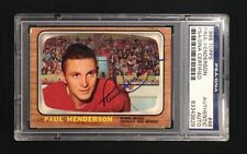 PAUL HENDERSON SIGNED 1966 TOPPS RED WINGS CARD #46 PSA/DNA