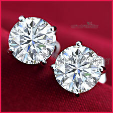 9K White Gold Filled 1CT Simulated Lab Diamond Round Stud Men Lady Earrings GIft