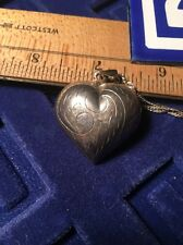 """VTG SCROLL DESIGN HOLLOW PUFF HEART PENDANT CHAIN .925 STERLING SILVER 18""""  FAB"""