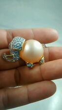 Super cute KJL Kenneth Jay Lane faux pearl clear crystal elephant pin brooch