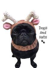 El sombrero de Reno, Redecilla Para Su Perro. Pug Sombrero. Gorra. Navidad Traje de Perro de sombrero de ciervos.