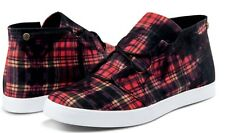 Volcom Stone ART SHOW Womens Fashion Sneakers Size 7 US Black Red Plaid NEW