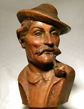 VINTAGE ANRI CARVED WOODEN FIGURAL  BOTTLE STOPPER  MAN  SMOKING