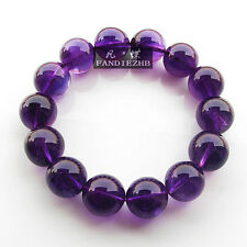 16mm Natural Brazil Amethyst Quartz Crystal Round Beads Stretch Bracelet AAA