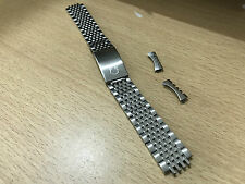 OMEGA STAINLESS STEEL GENTS WATCH STRAP, 18MM, RICE BEAD, CURVED LUG ENDS