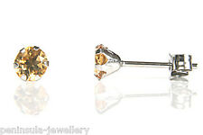 9ct White Gold Citrine Studs earrings Made in UK Gift Boxed