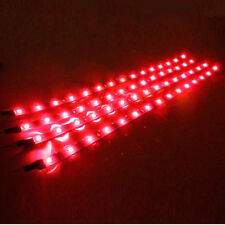 4PCS red Led Motorcycle Under Glow Frame Engine Motor Light Strips W/Adhesive