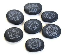 REIKI ENERGY CHARGED ENGRAVED SANSKRIT CRYSTAL HOT MASSAGE STONES BLACK AGATE