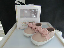 NEW Michael Kors Baby Besy Pink Shiny Crib Shoes Size 6 to 9 mo.