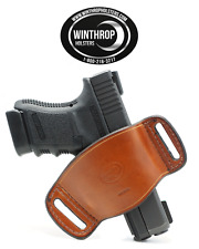Glock 43 No Laser Ambidextrous OWB Belt Slide Leather Holster Brown Item# 0641