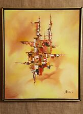 Mid Century Abstract Painting Orange Yellow Oil Signed 1967 Framed Canvas 21x25