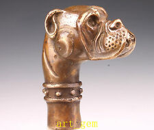 Vintage Bronze Statue British Bulldog Cane Walking Stick Head  Old Hand Househol