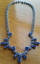 VINTAGE 1950's Sapphire and Pale blue Crystal glass Rhinestine necklace GORGEOUS