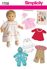 "NEW Simplicity 1950s Vintage Toys Sewing Pattern 1708 15"" Doll Clothes FREE POST"